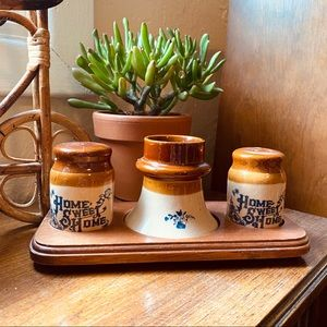 Vintage Brown Tan Home Sweet Home S+P set